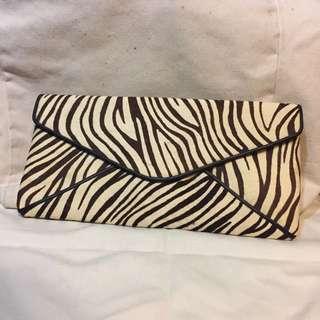 馬毛 斑馬紋 手拿包 信封包 磁釦 未使用過 真皮
