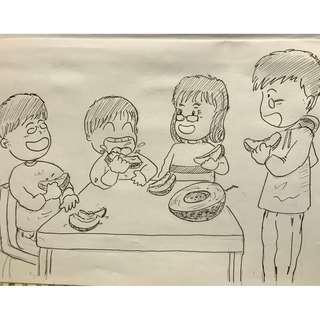 紀念場景卡通畫