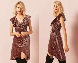 Forever 21 Crushed Velvet Wrap Dress