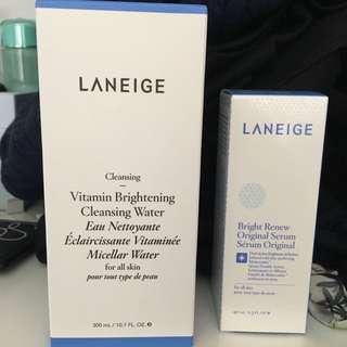 Laneige 60% off brightening serum + cleansing water