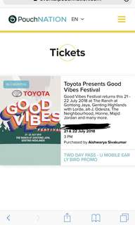 GVF 18 EARLY BIRD PHASE TICKET X1