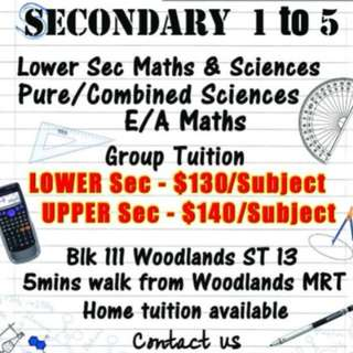 Secondary Maths & Science tuition @ Woodlands