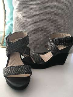 Charcoal/Black Wedge Sandals