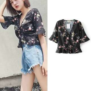 Floral V Cut Ribbon Tie Top/ Blouse (Free Mailing)