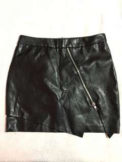 F21 Faux Leather Slit Skirt