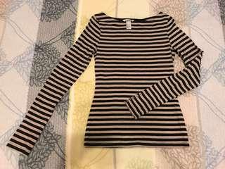 H&M 條紋長袖上衣 淺咖+黑S