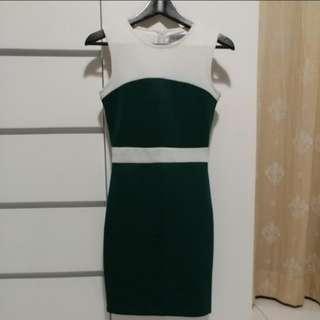 Femme Elegante White & Green Bodycon Formal Dress