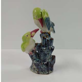 Vintage Sculpture Porcelain Birds Figurine Green And Blueish Grey Glaze