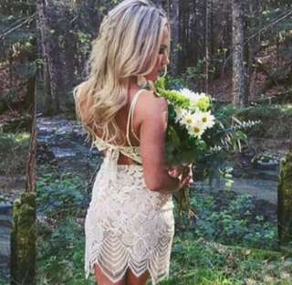Love & Bravery inspired lace up white lace dress
