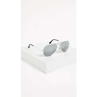 全新*Ray-Ban經典Aviator Silver Mirrored Sunglasses