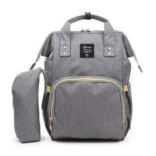 ❤ Pre-Order: 2pc Set Baby Diaper Bag/Mommy Bag (Grey)