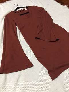 F21 Maroon Bodycon