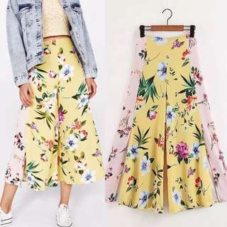 European open-cut printed wide leg pants