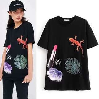 European and American models Gecko lipstick printing T-shirt