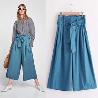 Europe Summer high waist wide leg pants