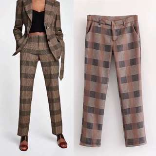 Summer European Plaid Suit Trousers