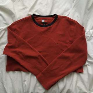 REDUCED🌻Red Vintage TOMMY HILFIGER Cropped Longsleeve