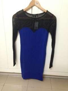 Forever 21 mesh panelled long sleeves bodycon dress BLUE