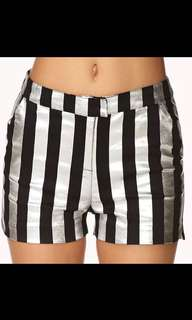 Forever 21 vertical stripes silver denim shorts