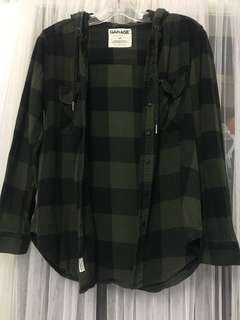 Garage Plaid Hooded Button Up