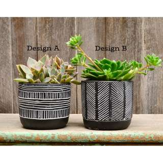 Monochrome 'Lines' Patterned Plant Pot Planter
