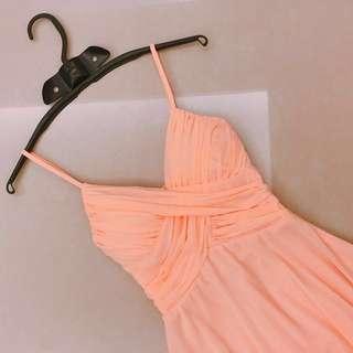 粉橘合身洋裝