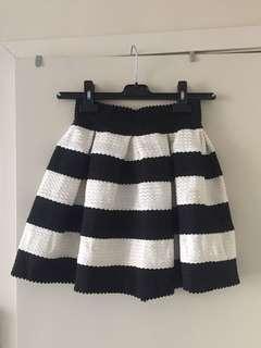 Stripe structured mini skirt