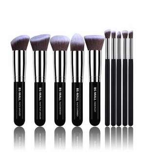 [IN-STOCK] BS-MALL(TM) Makeup Brushes Premium Makeup Brush Set Synthetic Kabuki Makeup Brush Set Cosmetics Foundation Blending Blush Eyeliner Face Powder Lip Brush Makeup Brush Kit(10pcs, Silver Black)