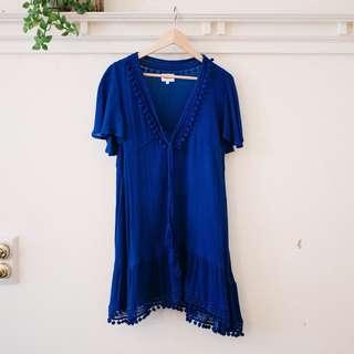 Seed Heritage Crochet Royal Blue Pom Pom Trim Dress