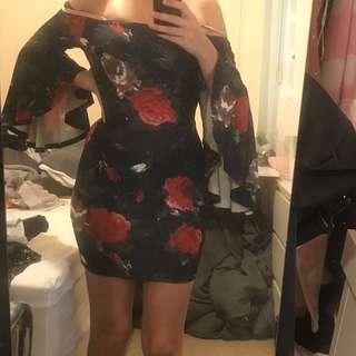 Rose bell sleeve dress