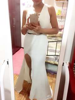 White Long Gown/Dress with Slit