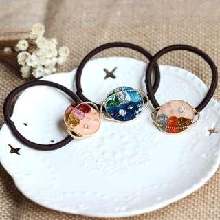 全新 日系 宇宙 星球 夢幻 土星 彩色 髮繩 髮圈 (只有藍色款) $39 包平郵