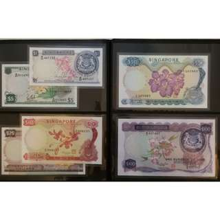 Singapore Orchid Series Dollar Notes Set, $100, $50, $25, $10, $5, $1