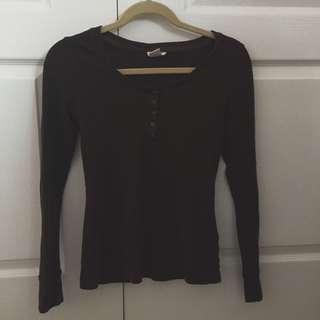 Brown Long Sleeve Top