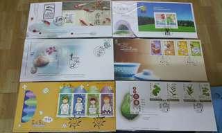 Hong Kong Post stamp香港郵政郵票套票首日封中電板週邊 畫出童心 香港茗藝 香港草藥 日本郵展2001 共六個