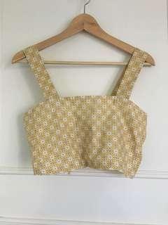 Handmade pattern tie up crop top