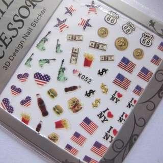 全新 日本 流行 可愛 型格 指甲貼紙 自由神像 美國旗 漢堡包 薯條 美金紙幣 可樂 星星 心心 圖案