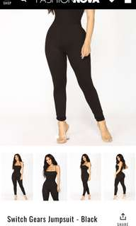fashion nova/ fashionnova switch gears black jumpsuit