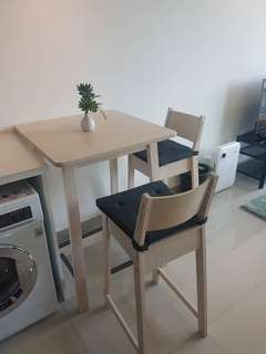 Ikea breakfast table with 2 stools