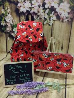 Drawstring Bagpack with Pencil Case Pouch