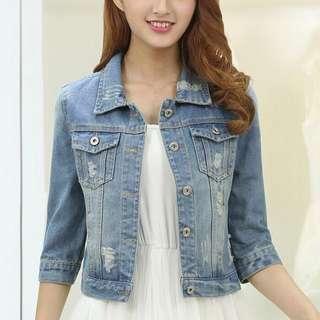 韓系短版牛仔外套