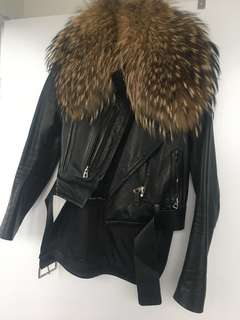 RUDSAK leather jacket with giant Fox fur