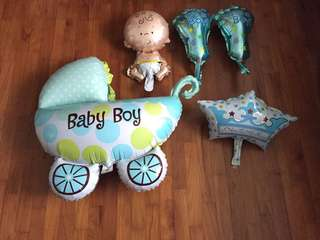 Full month party Balloons wall decor - baby boy