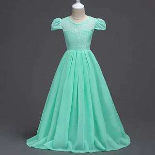 Princess Dress Mint Green Lace Chiffon Girls Long Dress Gown Wedding Bridemaids 9-15YO