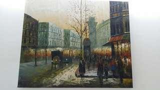 Oil Painting Paris Old Town Lukisan Art