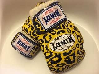WINDY拳套8oz Boxing Gloves 豹紋黃色