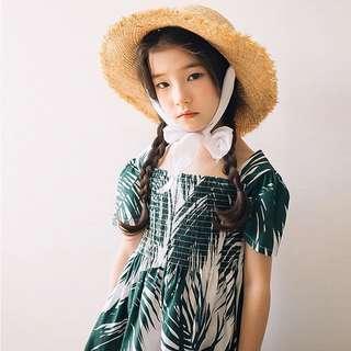 預購「120-160中大女童」棕櫚葉青春氣息洋裝童裝