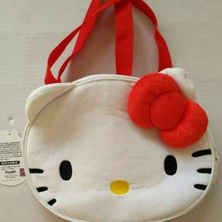 Hello kitty 絨毛臉型便當袋/手提袋