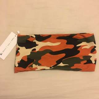 Brand new camouflage boob tube size 8