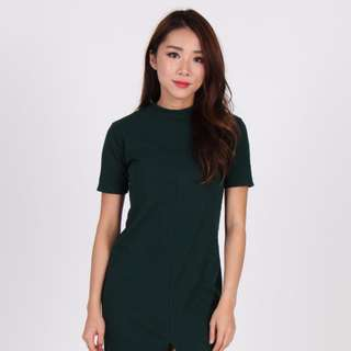 Sleeve Front Slit Dress by The Dress Room